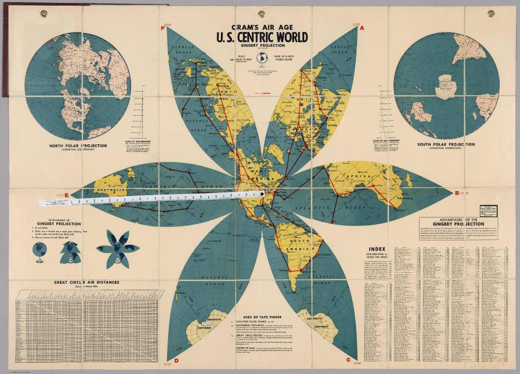 Air Map Of The World.U S Centric World On A Gingery Projection